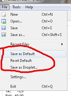 save settings as default